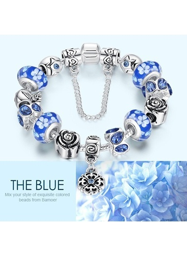 Koyu Mavi Murano Çiçek Charm Bileklik-Angemiel
